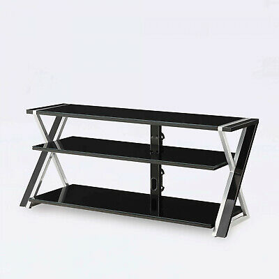 Black TV Stand For 65 Flat Panel TVs W/ Tempered Glass Shelves Media Center