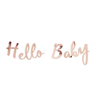 Hello Baby Girlande Banner 1,5m in Roségold für Baby Shower Baby Party Deko