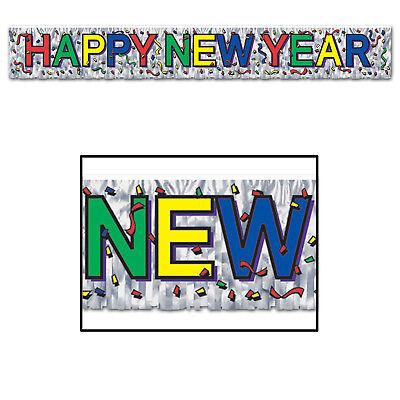 Happy New Year Fringe Banner Colorful Hanging Decoration Eve Party Celebration