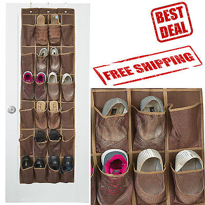 Door Organizer Shoe Storage Rack Over Hanging Hanger 24 Pockets Bag Space Saver