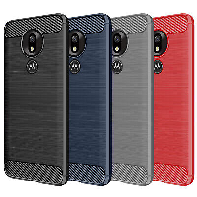 DD For Motorola Moto G7 Power Play Plus Case Carbon Fibre TPU Rugged Gel Cover