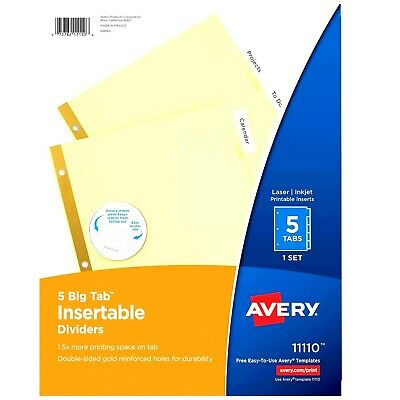 New Avery 5 Tab Binder Dividers Insertable Clear Big Tabs 1 Set 11110 Printable