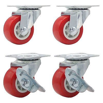 Lot Of 4 1.5 Low Profile Caster Wheels Rubber Swivel W Side Brake Red Combo