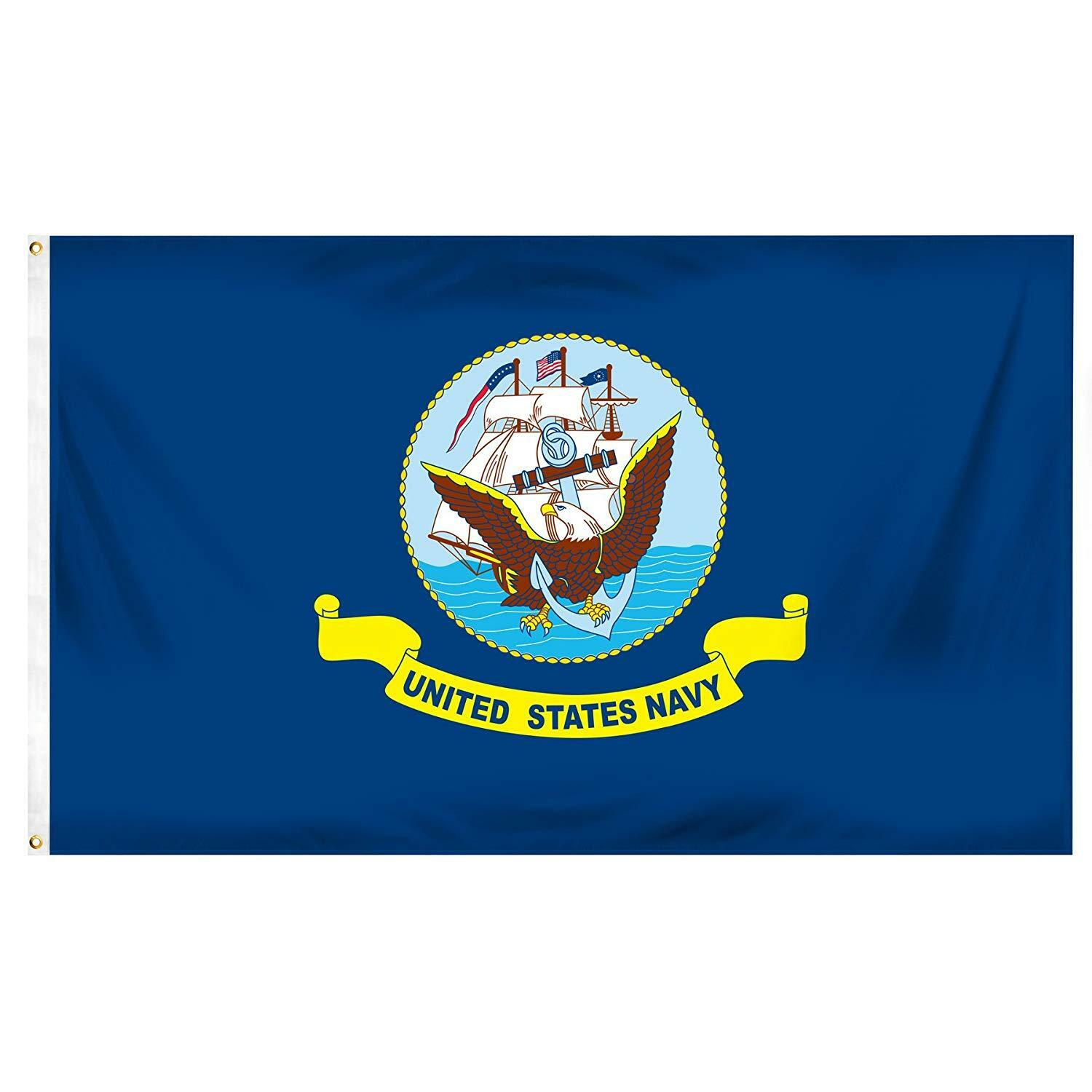 Online Stores Navy Printed Polyester Flag- 3 by 5-Feet