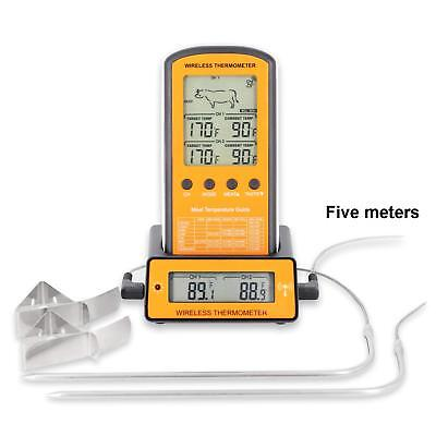 Wireless Remote Digital Cooking Meat Thermometer Dual Probe for Grill Smoker BBQ