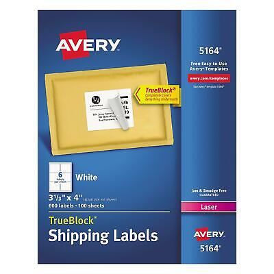 600 Avery Dennison 5164 True Block Laser Shipping Labels 3 13 X 4