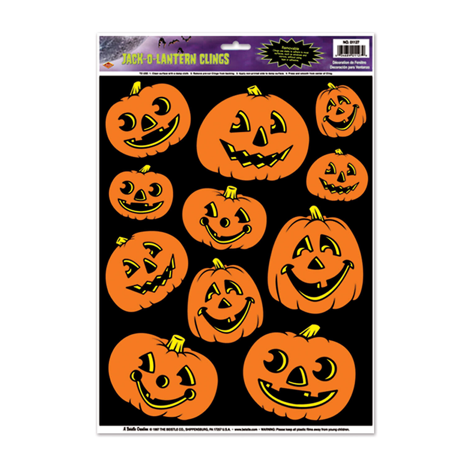Beistle Halloween RETRO JACK O' LANTERN WINDOW CLINGS JOL