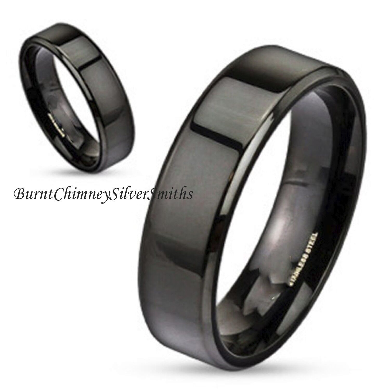 Black S/Steel Ring Wedding Band For Men or Women Optional LA