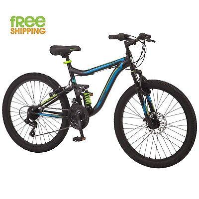 "Mongoose Mountain Bike 24"" Black Auminum Boy Bicycle 21 Speed Full Suspension"