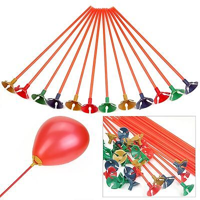 100 Stück Kunststoff Ballon Halter Sticks Multicolor Cup Hochzeit Dekoration Tn