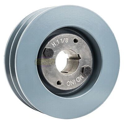 Cast Iron 4.75 2 Groove Dual Belt B Section 5l Pulley W 1-18 Sheave Bushing