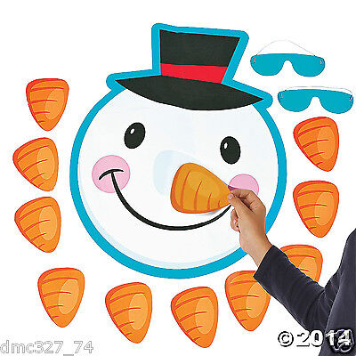 CHRISTMAS Game School Class Party PIN THE NOSE ON THE SNOWMAN for 10 Guests - Games For Christmas Parties