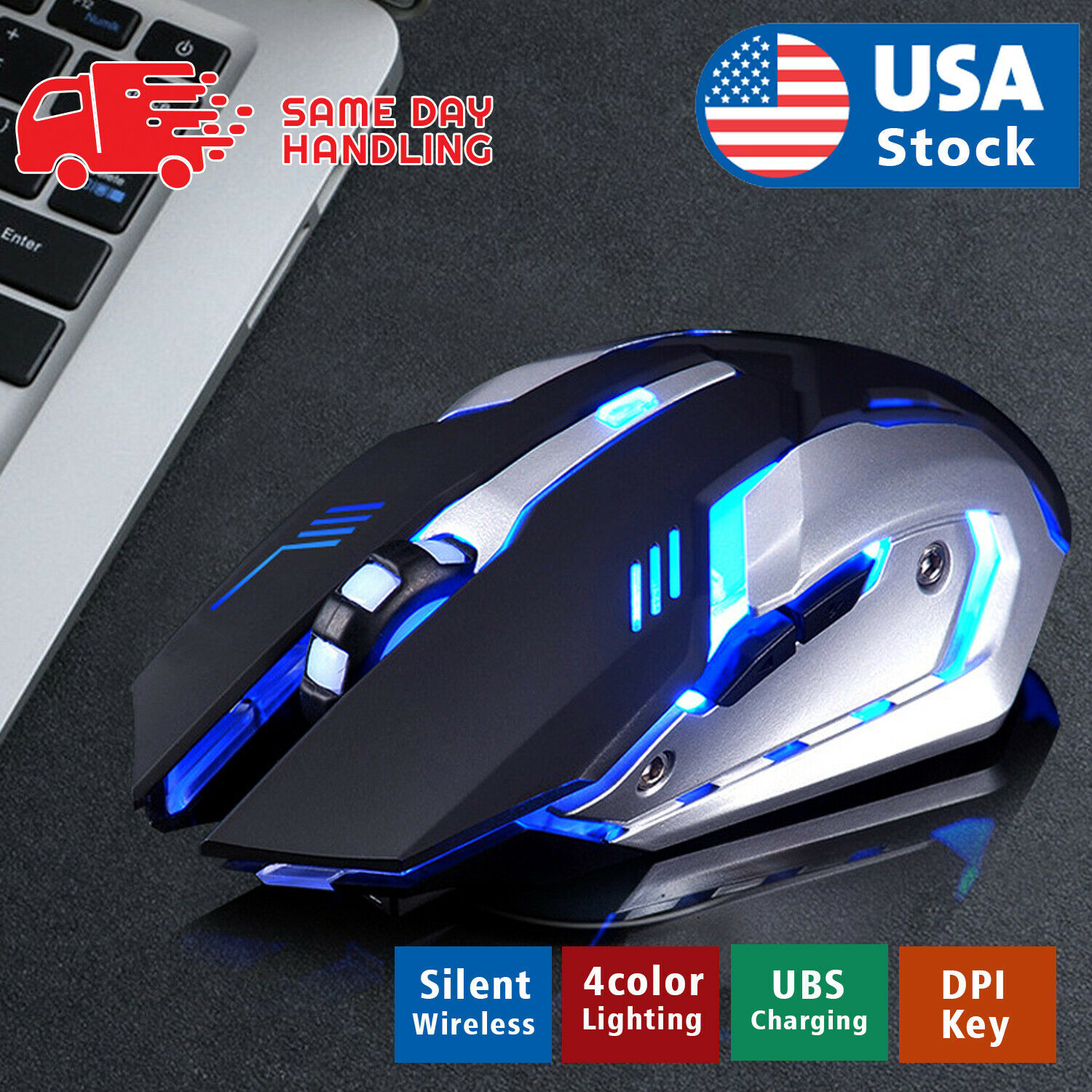 Gaming Mouse Rechargeable X7 Wireless Silent LED Backlit USB Optical Ergonomic A Computers/Tablets & Networking