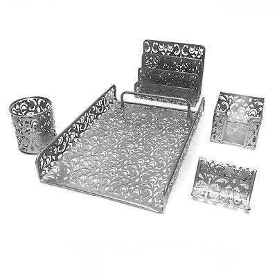 Majestic Goods 5 Piece Silver Flower Designed Punched Metal Mesh Desk Set