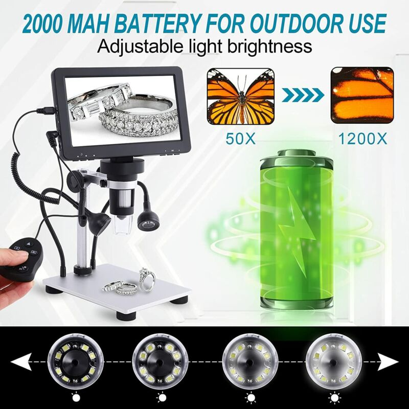 "7"" LCD 1080P Digital Microscope 1200X Zoom Magnifier +Video Recorder +Remote USA"