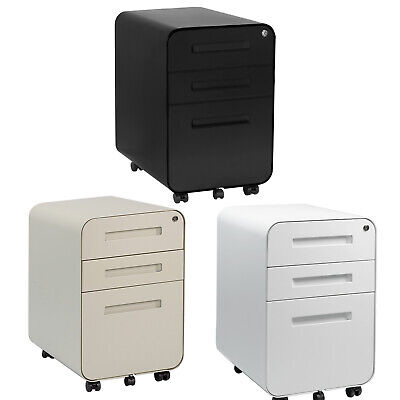 3 Drawer Mobile File Cabinetlocking Filing Cabinet Rolling Pedestal Under Desk