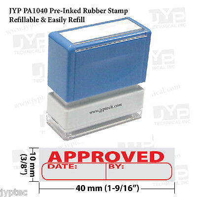 New Jyp Pa1040 Pre-inked Rubber Stamp W. Approved W. Writing Space