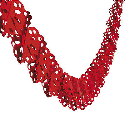 9ft Red Heart LACE DESIGN Garland Valentines Day Party Decoration