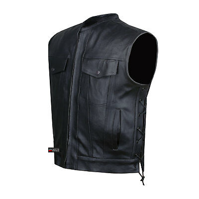 SOA Motorcycle Sons of Anarchy ARMOR Leather Open Collar Leather Biker Vest