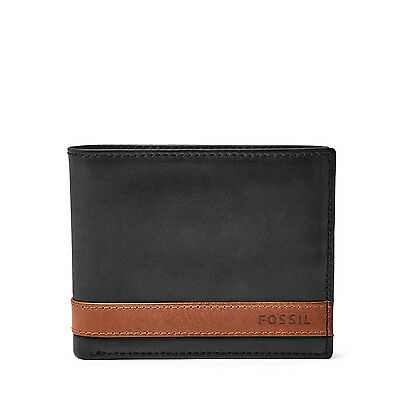 Fossil Original ML3644001 Quinn Flip ID Bifold Black Leather Men's Wallet