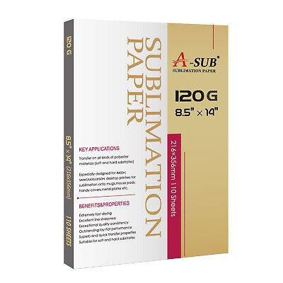 A-sub Sublimation Paper 8.5x14 120g 110 Sheets Heat Transfer Inkjet Printer Best