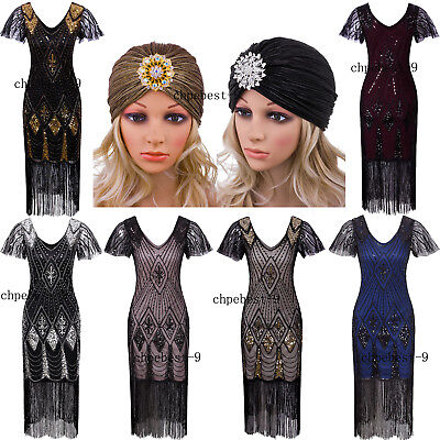 Halloween Parties Elegant Evening Party (Vintage 1920s Flapper Dresses  Evening Gowns 20s Party Womens Clothing Plus)