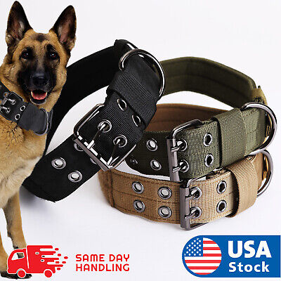 K9 Nylon Military Tactical Adjustable Dog Collar Pet Training collar Metal Buckl (Adjustable Nylon Dog Pet Collar)