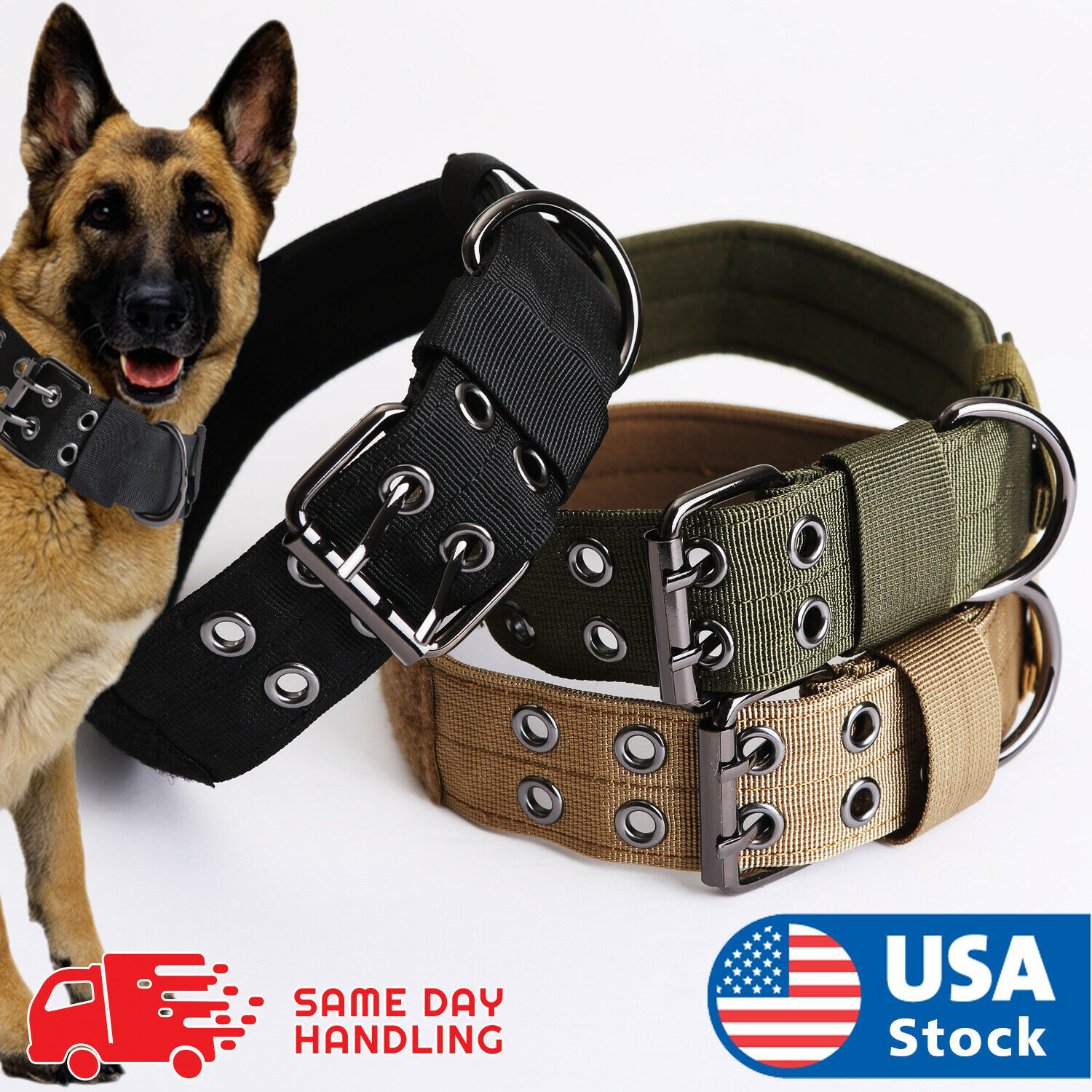 Tactical heavy duty Nylon large Dog Collar collar K9 Military with Metal Buckle Collars