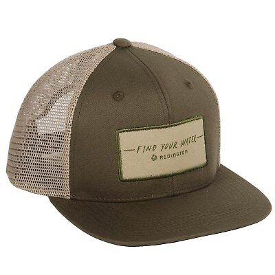 c383f490541 Redington Fishing Find Your Water Script Mesh Trucker Hat in Olive Snapback  OSFA