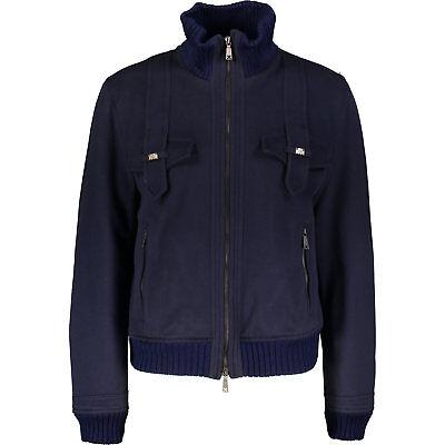 70% OFF JOHN RICHMOND Navy Wool Cashmere Mix Bomber Jacket L IT50 UK40