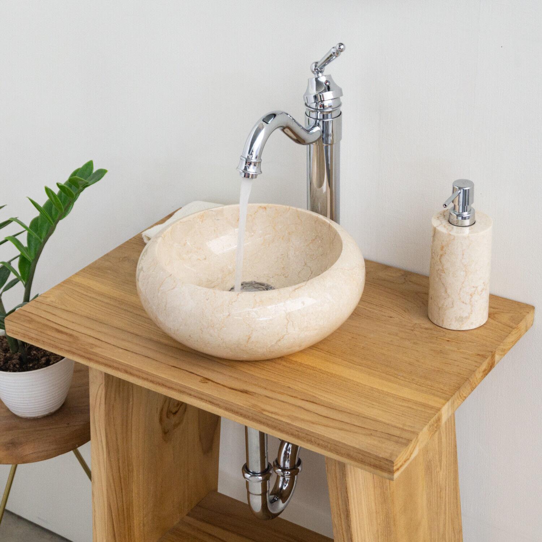 WOHNFREUDEN Naturstein Marmor Stein-Waschbecken 30x12 cm creme Handwaschbecken