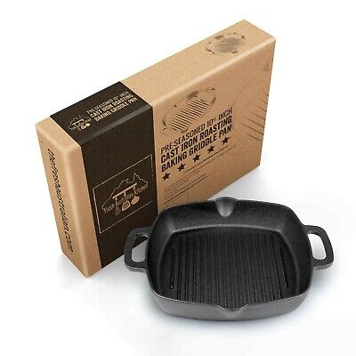 Pre-seasoned Cast Iron 12 Inch (10.5 Inches Square) Roasting Grill Skillet Pan Cast Iron Roasting Pan