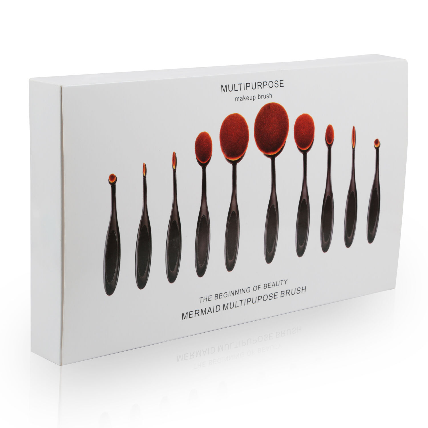 Купить Unbranded Oval Shaped Makeup Brush - 10Pcs Professional Makeup Brushes Set Oval Cream Puff Toothbrush Brush Black