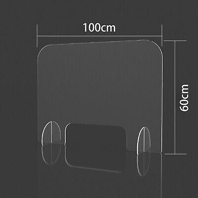 100cm*60cm Schutzscheibe Spuckschutz Acrylglas mit Durchreiche Thekenaufsatz DE