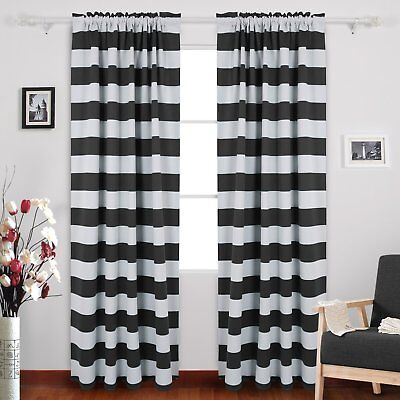 Rod Pocket Black and White Stripe Curtains for Living Room 52X84