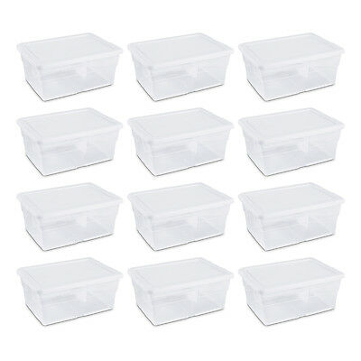 Sterilite 16 Quart Clear Stacking Storage Container Tub, 12 Pack | 16448012  - Plastic Storage Tubs