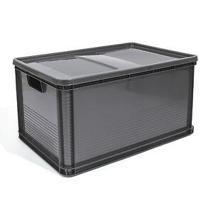 64L Lagerkiste Euro Box Stapelbox Transportbox mit Deckel geschlossene Obstbox