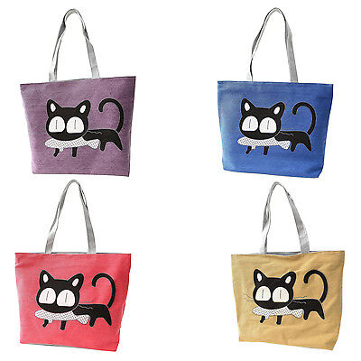 Girl cat eat fish shopping bag Shoulder Women beach tote bags handbags BEB ()