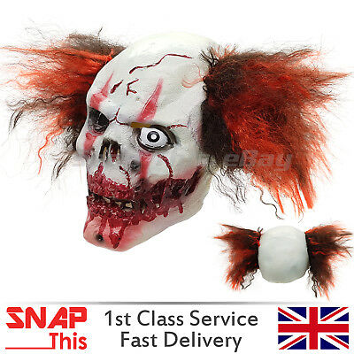 Clown Mask Hair Red Nose Cosplay Latex Face Horror Adult Halloween IT Killer NEW - Latex Clown Nose