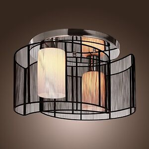 Modern-Chrome-Ceiling-Pendant-Chandeliers-Flush-Mount-Black-Semi-2Lights-E26-E27
