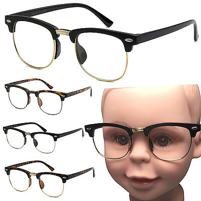 Small Kid Size Clear Lens Glasses Half Frame Nerd Hipster Child Costume Age 3+](Kids Nerd Costumes)