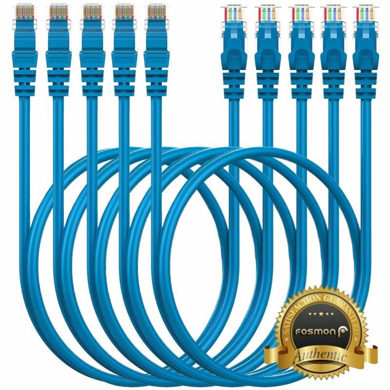 5 Pack Cat5e Cat5 Cable RJ45 Ethernet LAN Network Internet Cord Lot - 3FT Blue