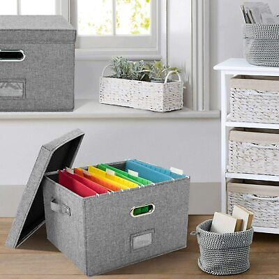 Portable File Storage Box With Lid Letter Size Legal Folder Document Organizer