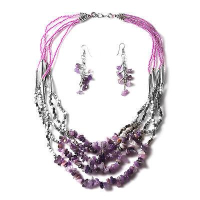 Women's Purple Glass Silvertone Beaded Chips Beads Strand Necklace Earrings Set