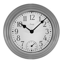 29007 Equity by La Crosse 8 Indoor/Outdoor Wall Clock with Temperature - Silver