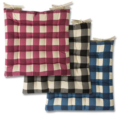 Tufted Chair Pad Cushion 16″ x 16″ Buffalo Check 2, 4 or 6 Pack Home & Garden