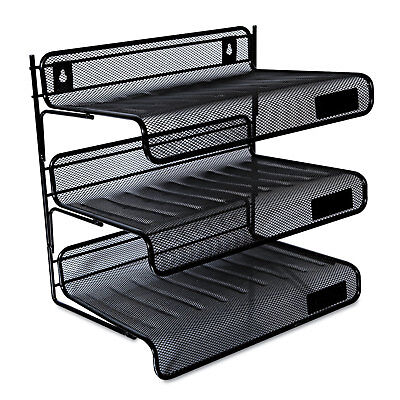 Universal Mesh Three-tier Desk Shelf Letter Black 20006