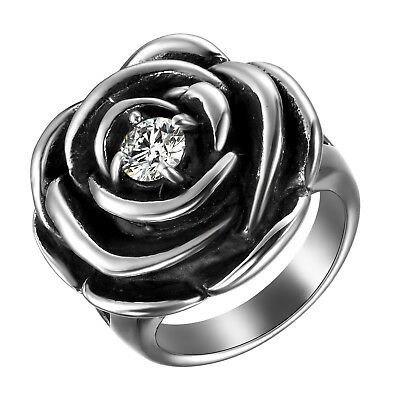 Womens Black Silver Stainless Steel Cubic Zirconia Rose Cast Ring Band Size 6-10