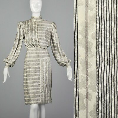 Small Galanos 1970s Striped Silk Dress Vintage Geometric Day Dress 70s Textural for sale  Lake Junaluska
