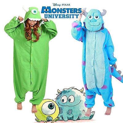 Hallowee Adult/Kid Monsters Mike Wazowski&sulley Costume Pajamas Sleepwear New - Kids Mike Wazowski Costume